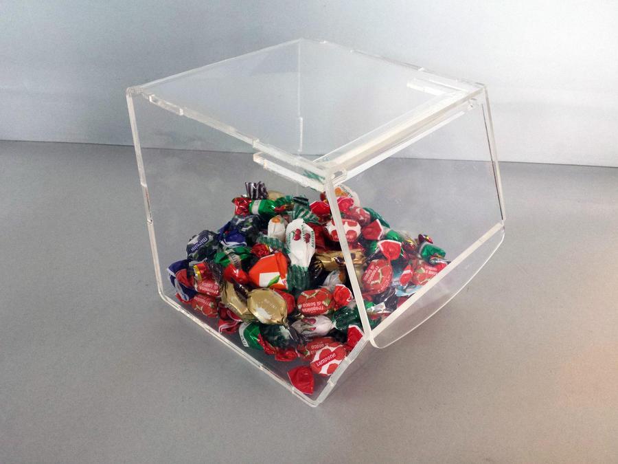 Contenitore porta caramelle a bocca di lupo con coperchio