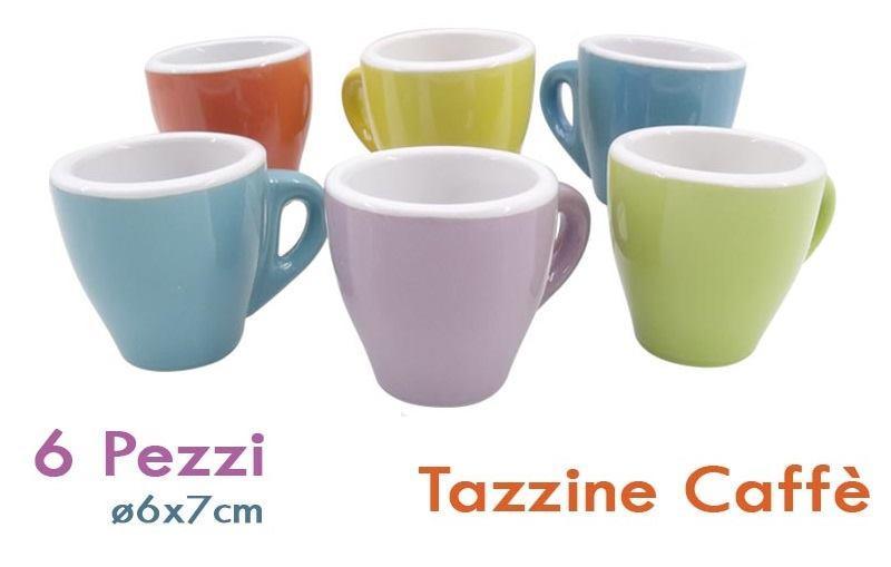 Set 6 Tazzine da caffè Bianche, Colorate, Marrone Servizio Tazze caffè Ceramica 7x6cm