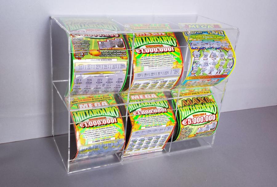 Contenitore per Gratta e Vinci a cubo (6 cubi orizzontale o verticale)