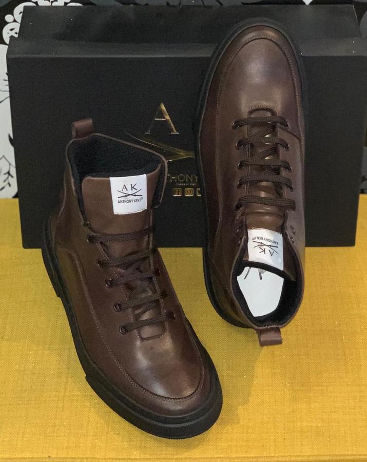 Sneaker uomo stivale pelle marrone