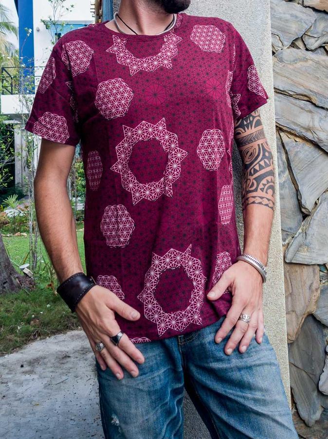 T-shirt uomo Ashok stampa serigrafica - fiore della vita bourdeaux