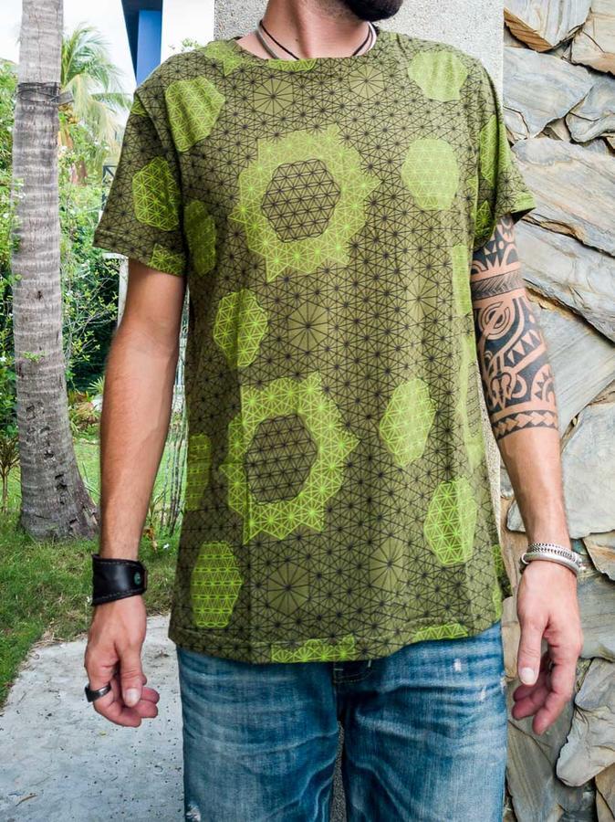 T-shirt uomo Ashok stampa serigrafica - fiore della vita verde