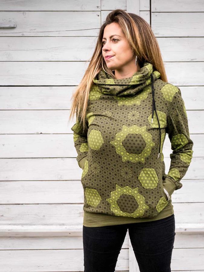 Women's high-neck sweatshirt Durga - green