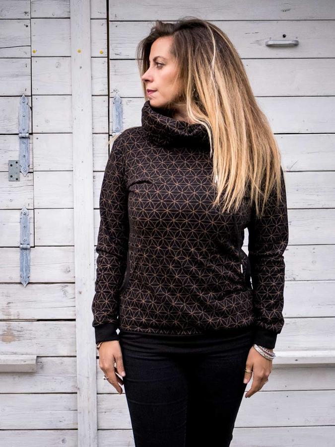 Women's high-neck sweatshirt Durga - black & brown