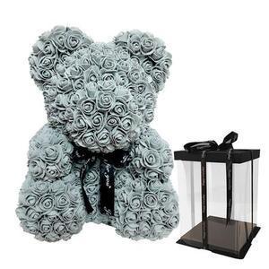 ORSO TEDDY BEAR DI ROSE ARTIFICIALI 40CM SAN VALENTINO ANNIVERSARIO REGALO VARI COLORI