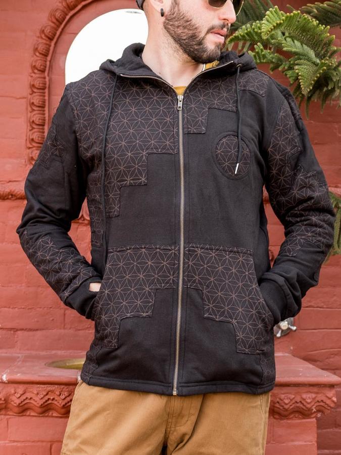 Men's sweatshirt Mayur zip closure and hood - patchwork black & brown