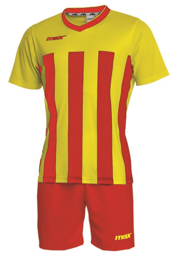 Max Sport Completo calcio mc kit ELEGANT colore  ROSSO / GIALLO