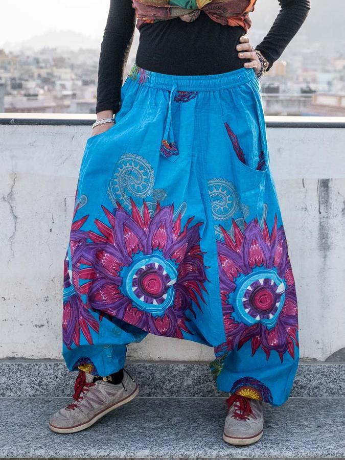 Pantalone donna aladino Aruna - azzurro con mandala