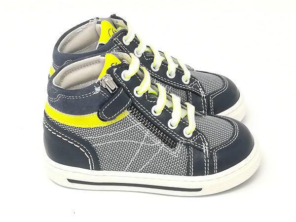 Baby Sneaker Pelle Blu/Giallo  - NERO GIARDINI Kids & Teens