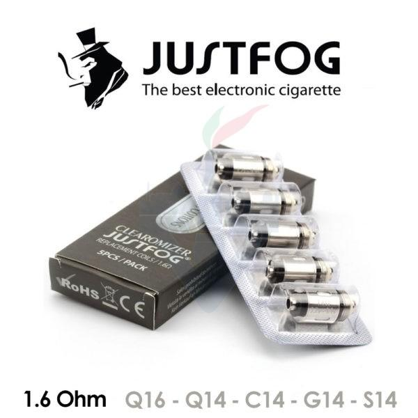 Testine Coil 1,6 e 1,2 ohm per C14 / G14 / S14 /Q14 /Q16 / P16a Confezione da 5 Pezzi - Justfog