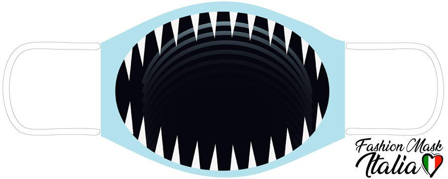 Fashion Mask Shark Mouth  3 Strati 100% Cotone con Filtro intercambiabile in TNT (2 Mascherine+20 Filtri)