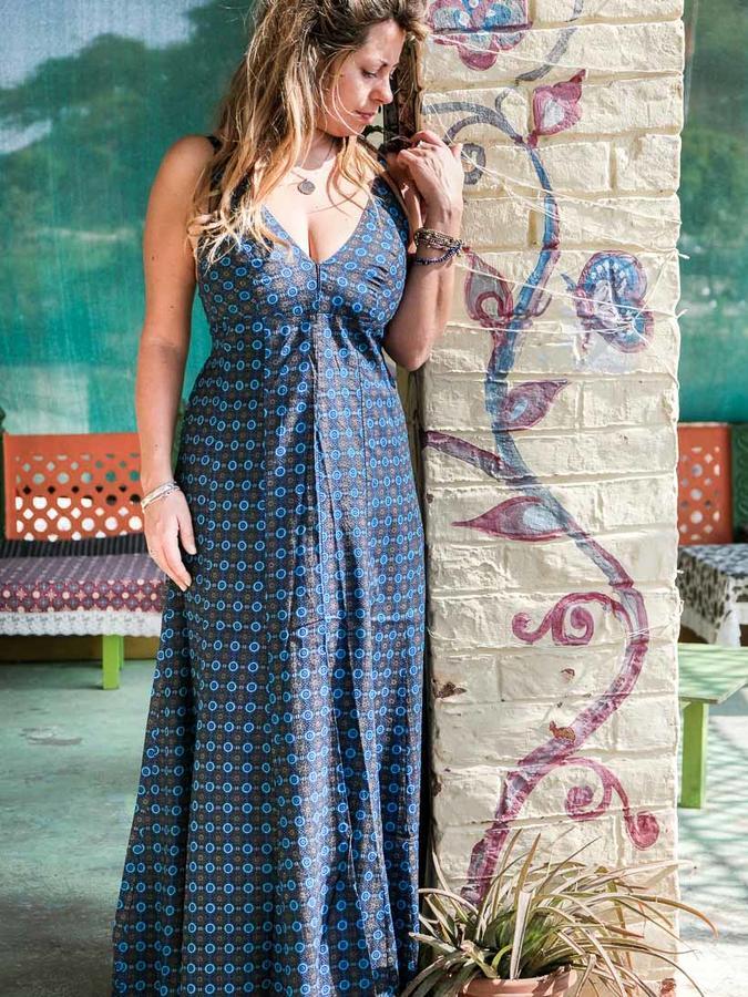 Vestido mujer largo Ashalata - azul florido