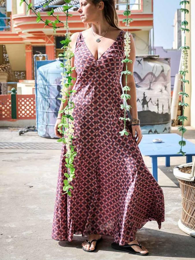 Vestido mujer largo Ashalata - rojo claro y azul
