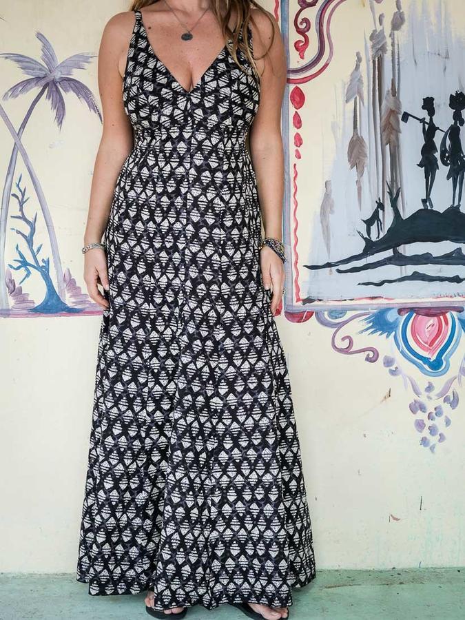 Vestido mujer largo Ashalata - geométrico negro gris
