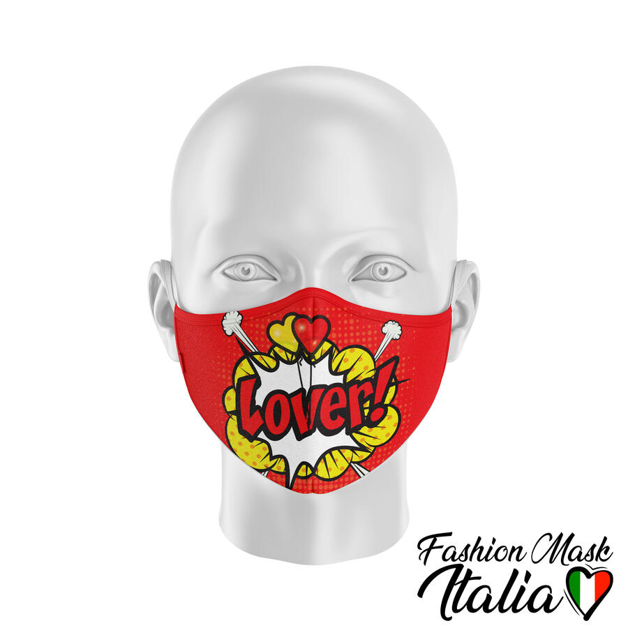 Fashion Mask Lover Comics  3 Strati 100% Cotone con Filtro intercambiabile in TNT (2 Mascherine+20 Filtri)