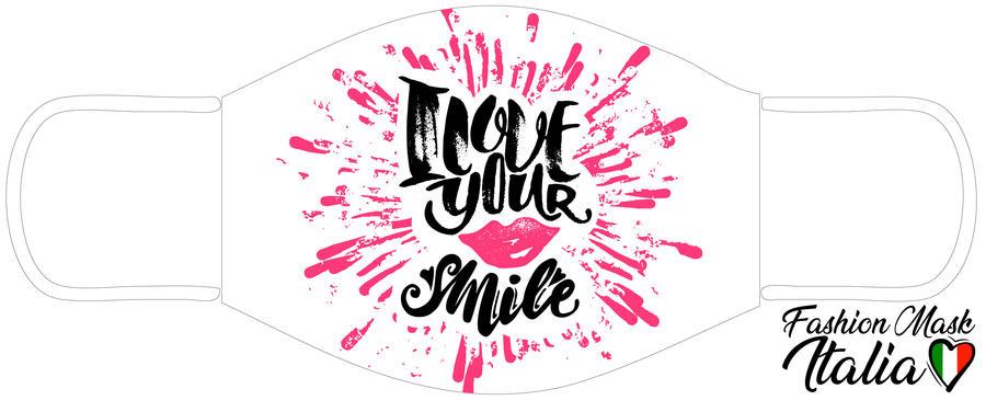 Fashion Mask I Love Your Smile  3 Strati 100% Cotone con Filtro intercambiabile in TNT (2 Mascherine+20 Filtri)