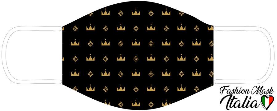 Fashion Mask Pattern Crown  3 Strati 100% Cotone con Filtro intercambiabile in TNT (2 Mascherine+20 Filtri)