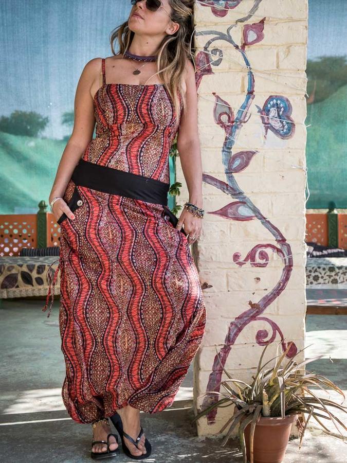 Long woman Jumpsuit Vaishali low crotch – red