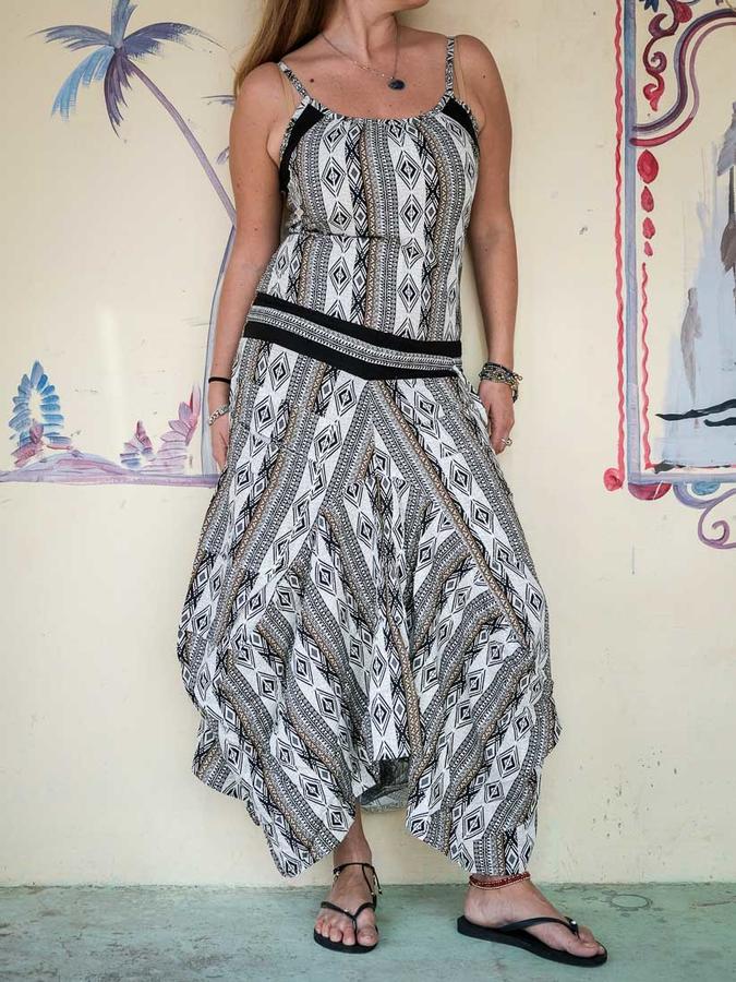 Vestido largo mujer Nandita con falda de saco - blanco geométrico