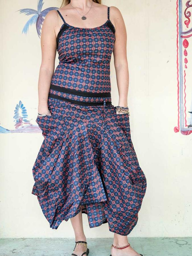 Long women dress Nandita with bag skirt - blue red