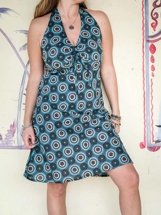 Short dress woman Medha with neck lacing - turquoise