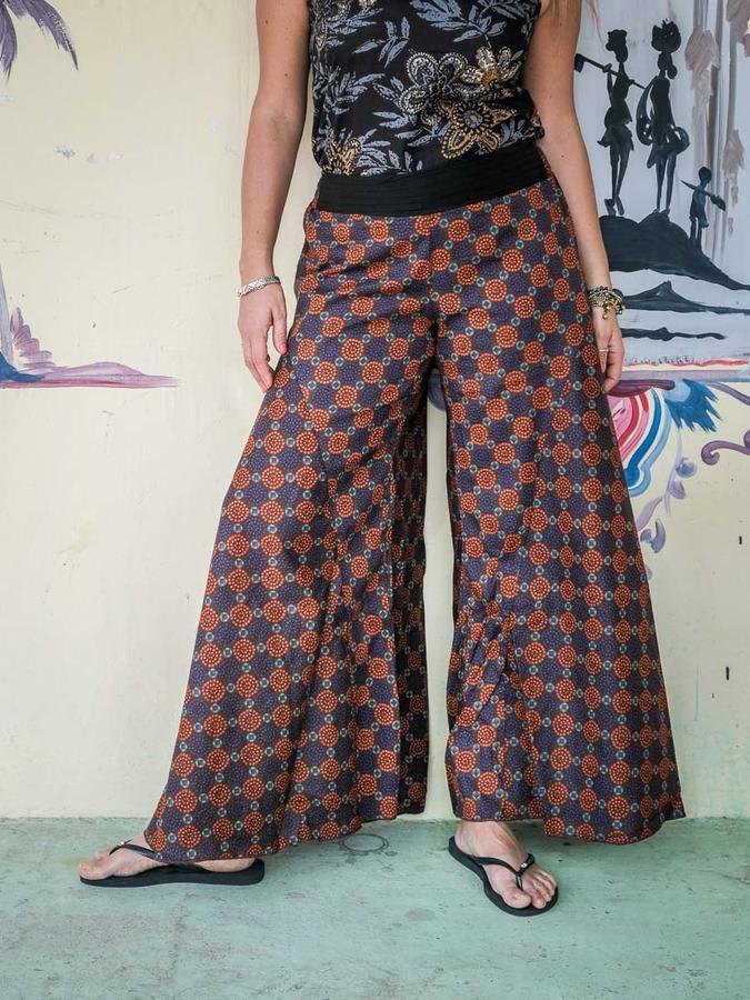 Pantalón mujer Ekta pierna ancha - étnico naranja y morado