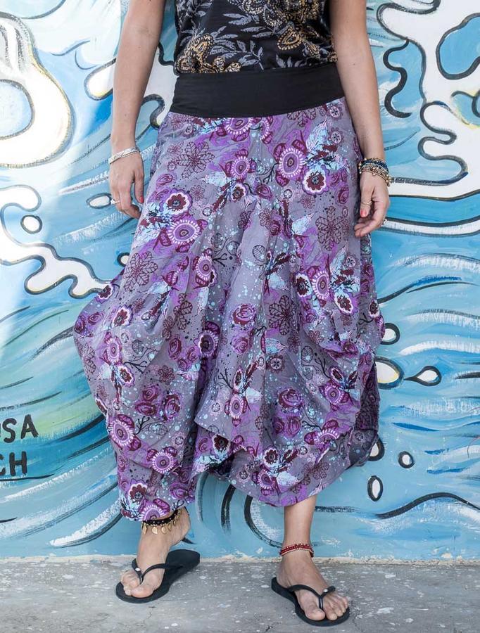 Bag long skirt Dhara - purple flowered