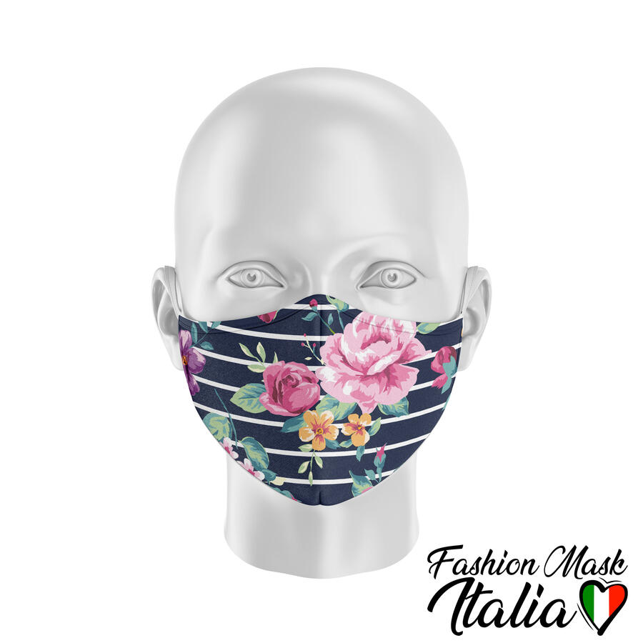 Fashion Mask Flowers & Stripes 3 Strati 100% Cotone con Filtro intercambiabile in TNT (2 Mascherine+20 Filtri)