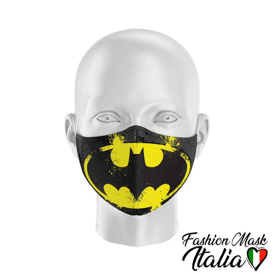 Fashion Mask Batman Splatter 3 Strati 100% Cotone con Filtro intercambiabile in TNT (2 Mascherine+20 Filtri)