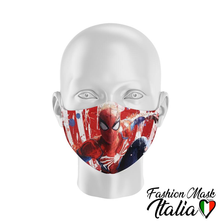 Fashion Mask SpiderMan Splatter 3 Strati 100% Cotone con Filtro intercambiabile in TNT (2 Mascherine+20 Filtri)