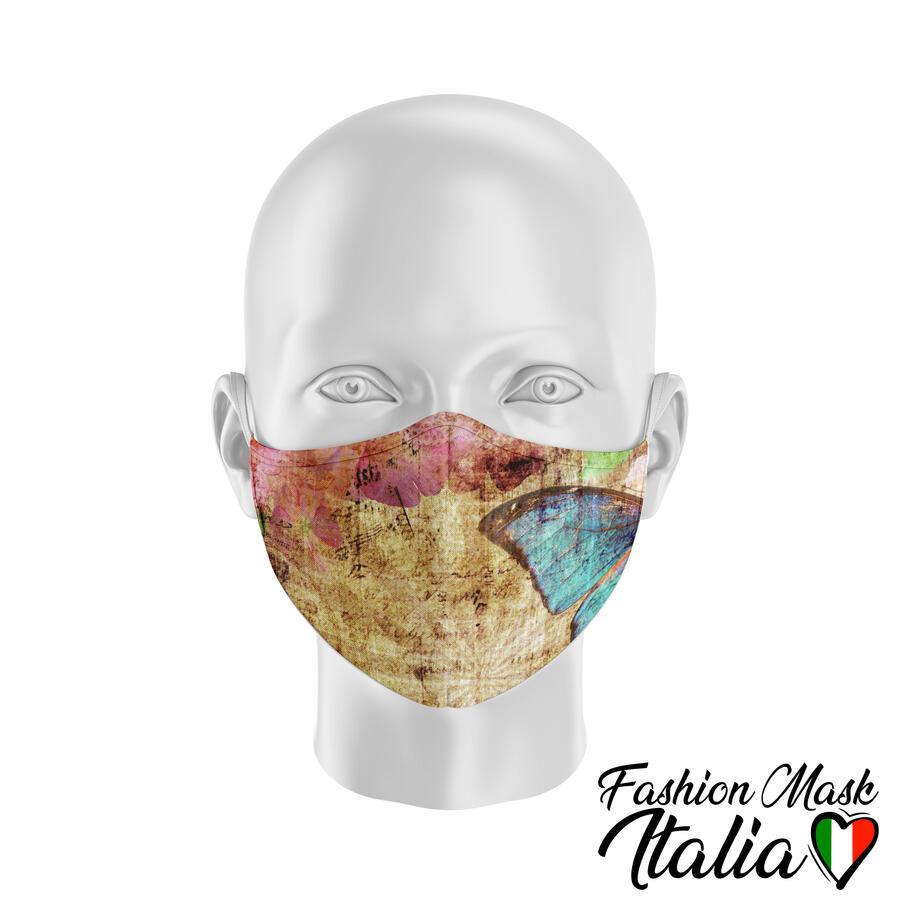 Fashion Mask Butterfly Vintage 3 Strati 100% Cotone con Filtro intercambiabile in TNT (2 Mascherine+20 Filtri)