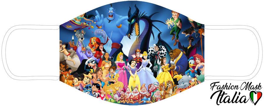 Fashion Mask Disney Family 3 Strati 100% Cotone con Filtro intercambiabile in TNT (2 Mascherine+20 Filtri)