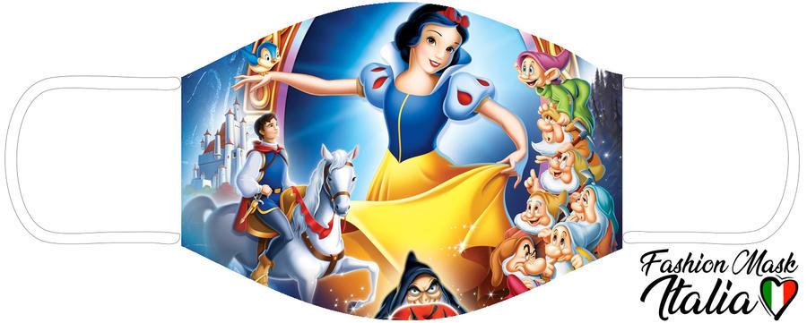 Fashion Mask Disney Biancaneve 3 Strati 100% Cotone con Filtro intercambiabile in TNT (2 Mascherine+20 Filtri)