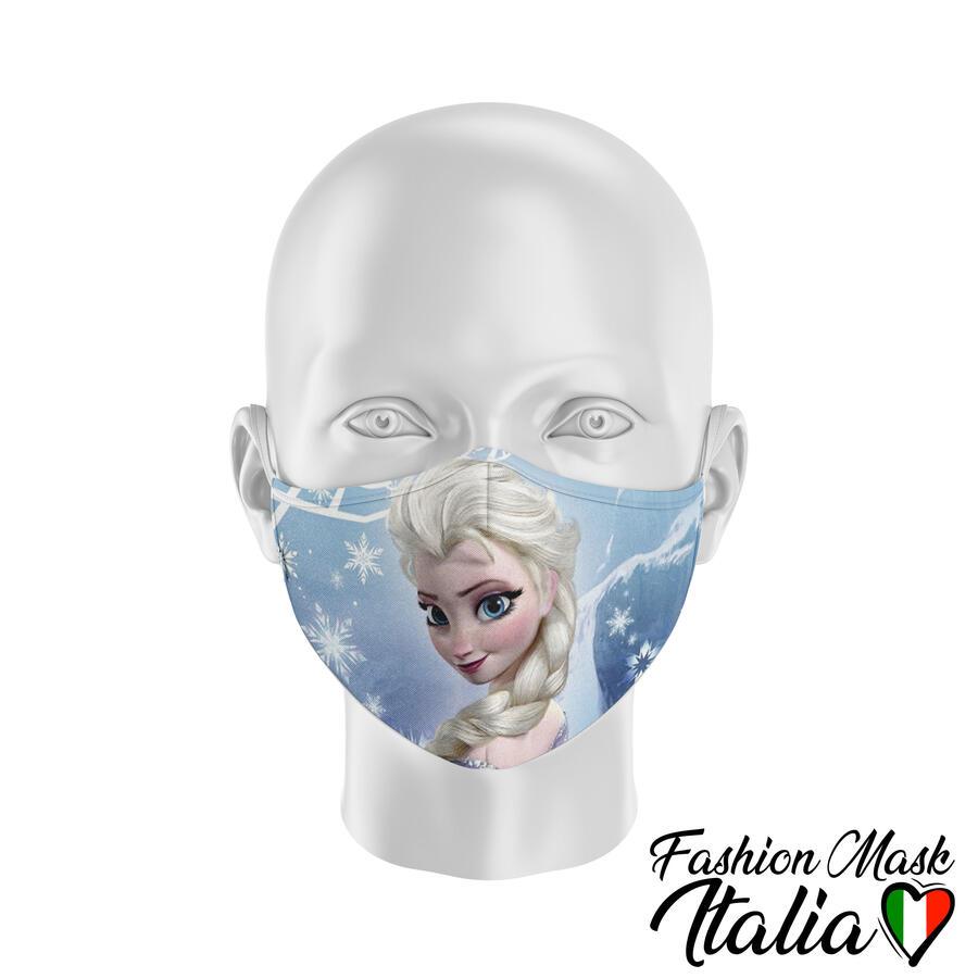 Fashion Mask Disney Principessa Elsa 3 Strati 100% Cotone con Filtro intercambiabile in TNT (2 Mascherine+20 Filtri)