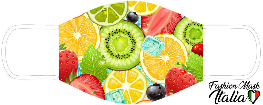 Fashion Mask Summer Fruits 3 Strati 100% Cotone con Filtro intercambiabile in TNT (2 Mascherine+20 Filtri)