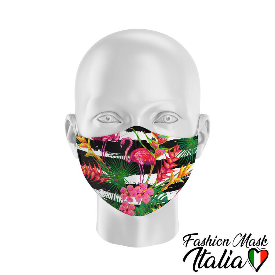 Fashion Mask Exotic Flamingos 3 Strati 100% Cotone con Filtro intercambiabile in TNT (2 Mascherine+20 Filtri)