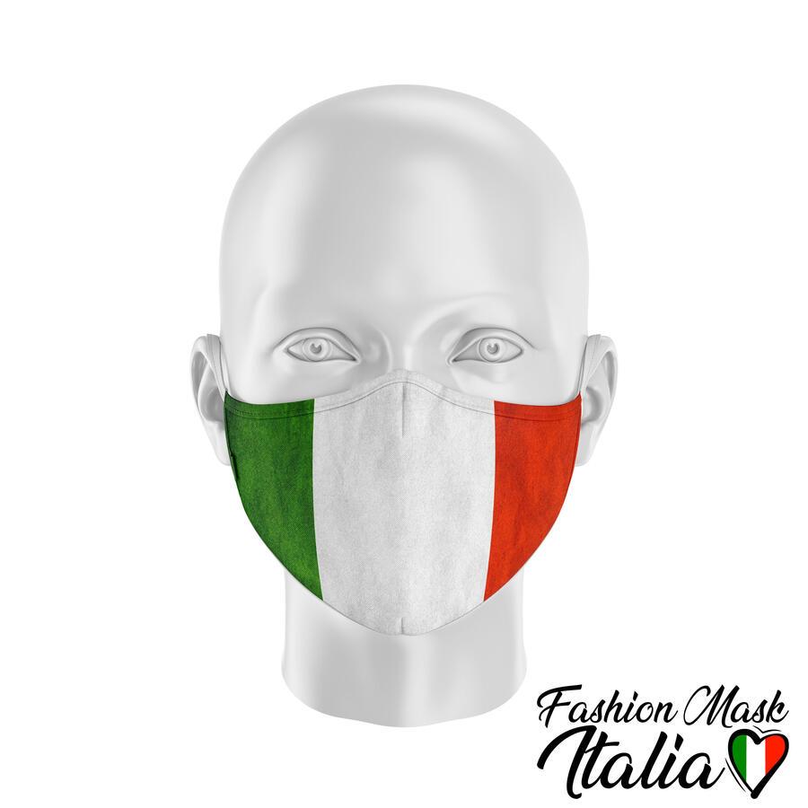 Fashion Mask Italy Flag 3 Strati 100% Cotone con Filtro intercambiabile in TNT (2 Mascherine+20 Filtri)