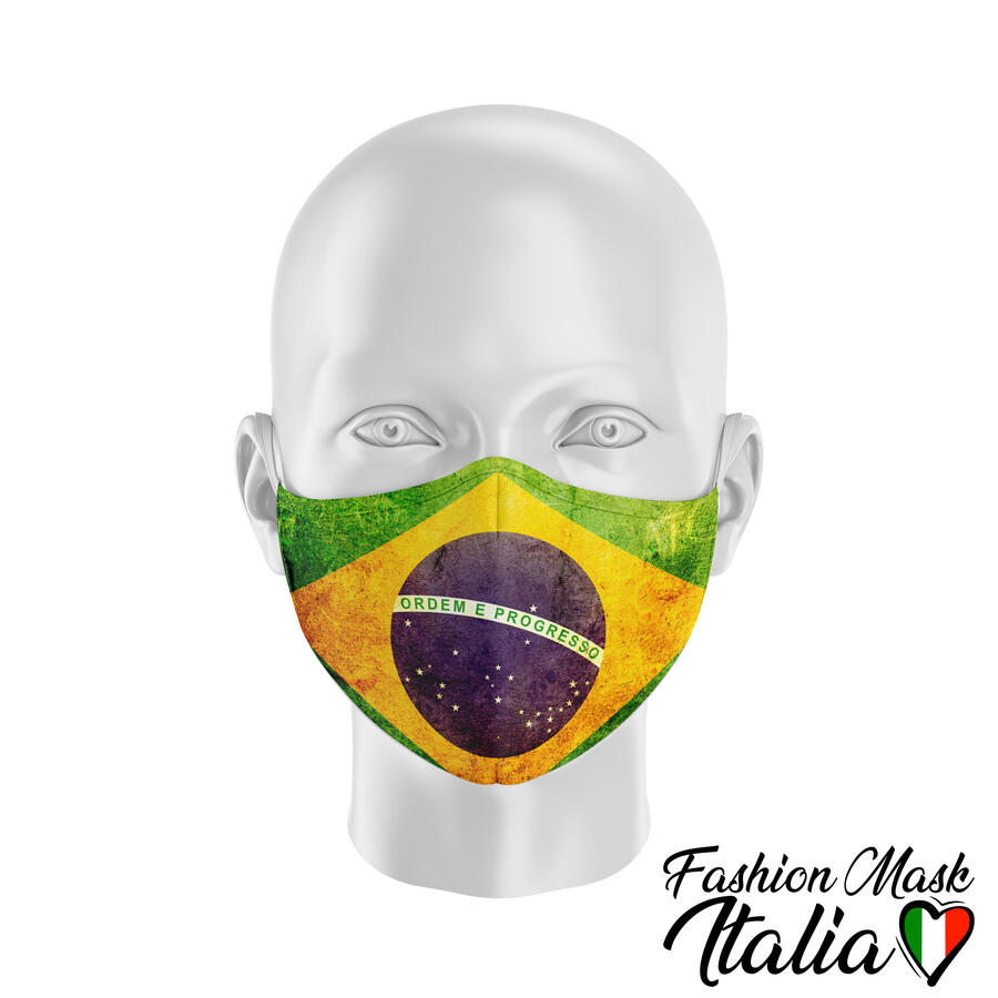 Fashion Mask Brazil Flag 3 Strati 100% Cotone con Filtro intercambiabile in TNT (2 Mascherine+20 Filtri)