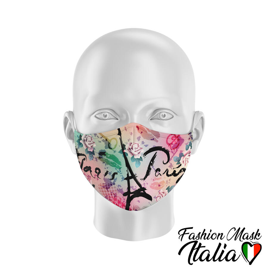 Fashion Mask Paris 3 Strati 100% Cotone con Filtro intercambiabile in TNT (2 Mascherine+20 Filtri)