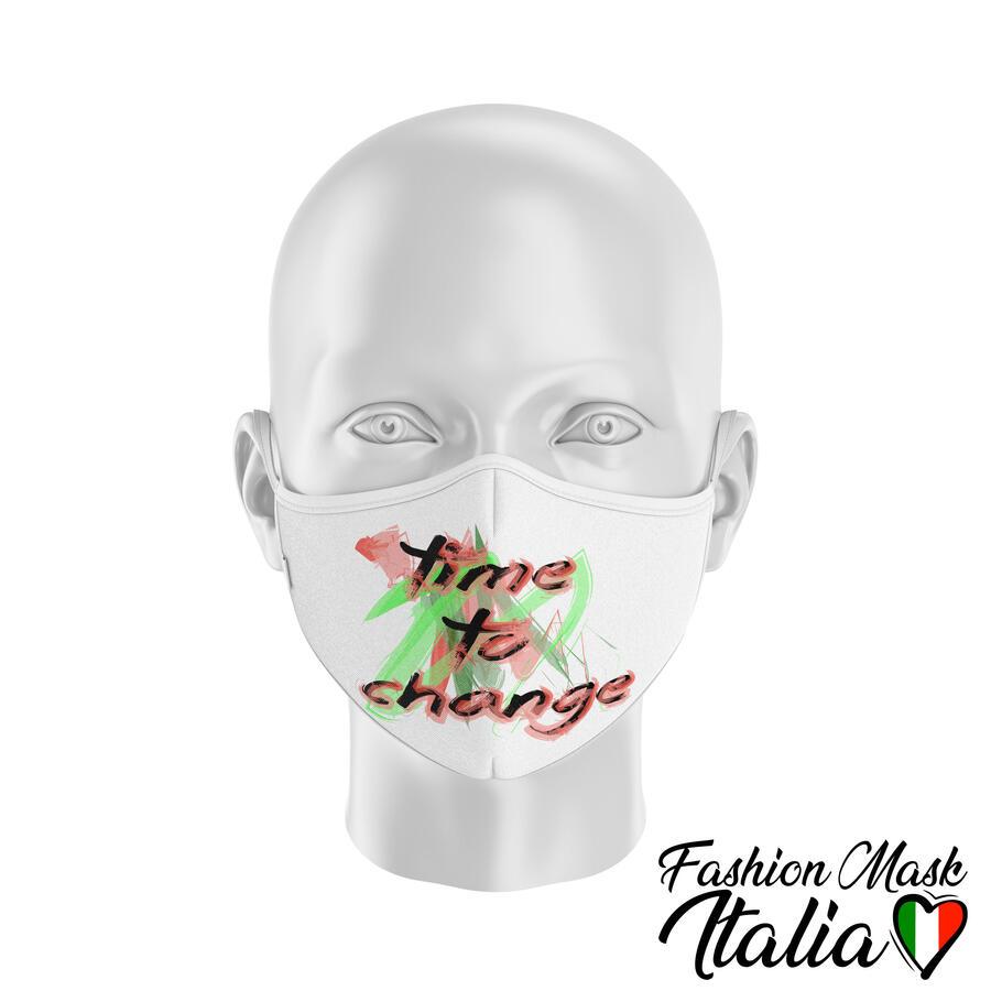 Fashion Mask Time To Change 3 Strati 100% Cotone con Filtro intercambiabile in TNT (2 Mascherine+20 Filtri)