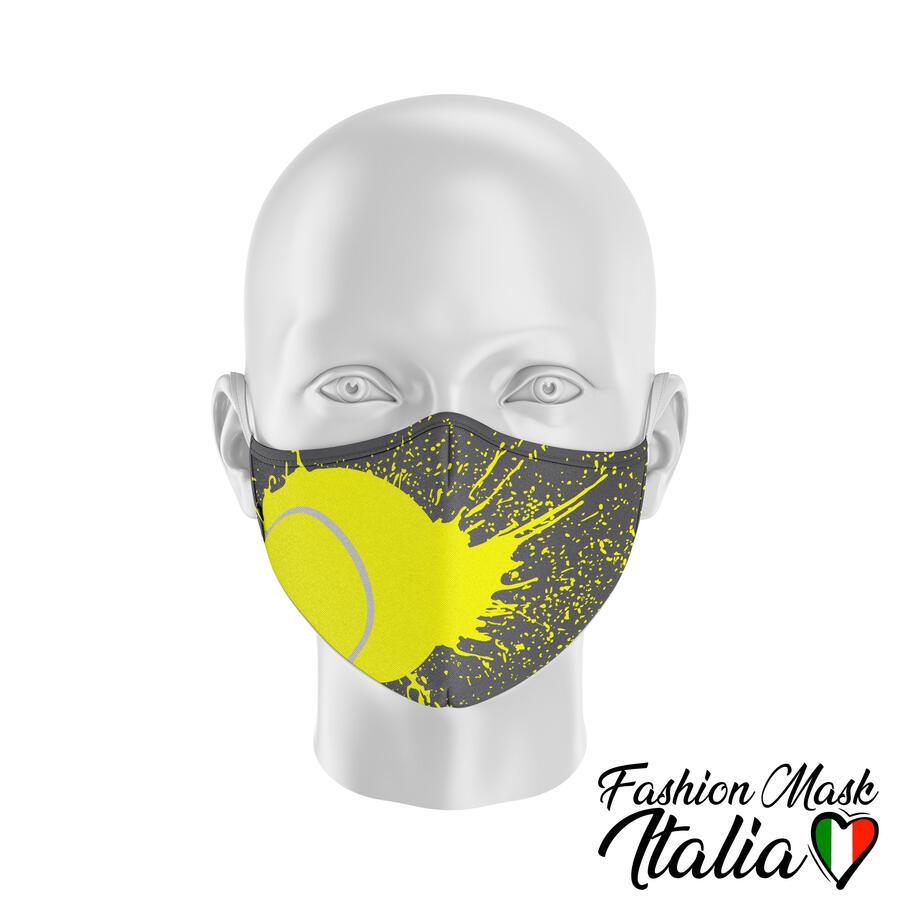 Fashion Mask Tennis Splatter 3 Strati 100% Cotone con Filtro intercambiabile in TNT (2 Mascherine+20 Filtri)