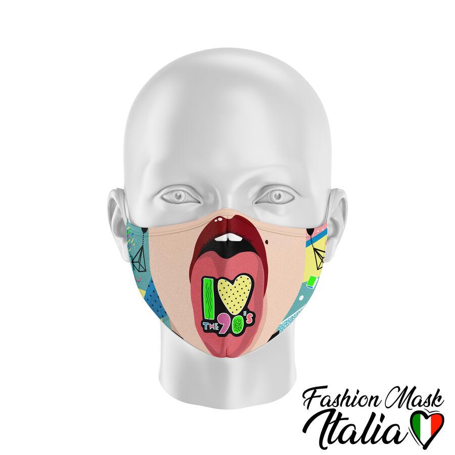 Fashion Mask I Love 90's 3 Strati 100% Cotone con Filtro intercambiabile in TNT (2 Mascherine+20 Filtri)