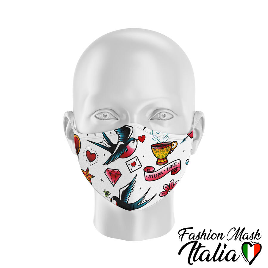 Fashion Mask Old School Tattoo 3 Strati 100% Cotone con Filtro intercambiabile in TNT (2 Mascherine+20 Filtri)