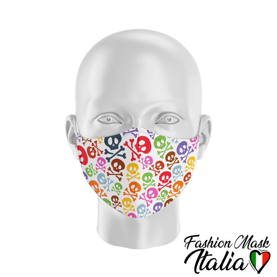 Fashion Mask Colored Skulls 3 Strati 100% Cotone con Filtro intercambiabile in TNT (2 Mascherine+20 Filtri)