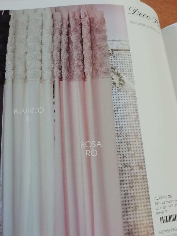 Tenda con bordo rose cotone  rosa 140x290
