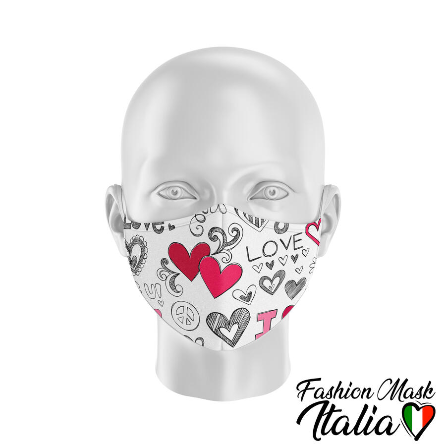 Fashion Mask Love Doodles 3 Strati 100% Cotone con Filtro intercambiabile in TNT (2 Mascherine+20 Filtri)