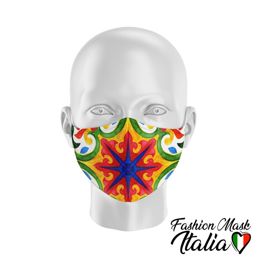 Fashion Mask Mosaico Siciliano 3 Strati 100% Cotone con Filtro intercambiabile in TNT (2 Mascherine+20 Filtri)