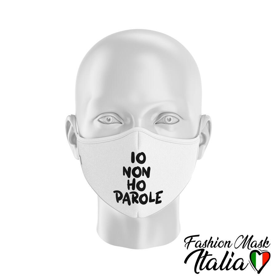 "Fashion Mask ""Io Non Ho Parole"" by Fakeoff! 3 Strati 100% Cotone con Filtro intercambiabile in TNT (2 Mascherine+20 Filtri)"