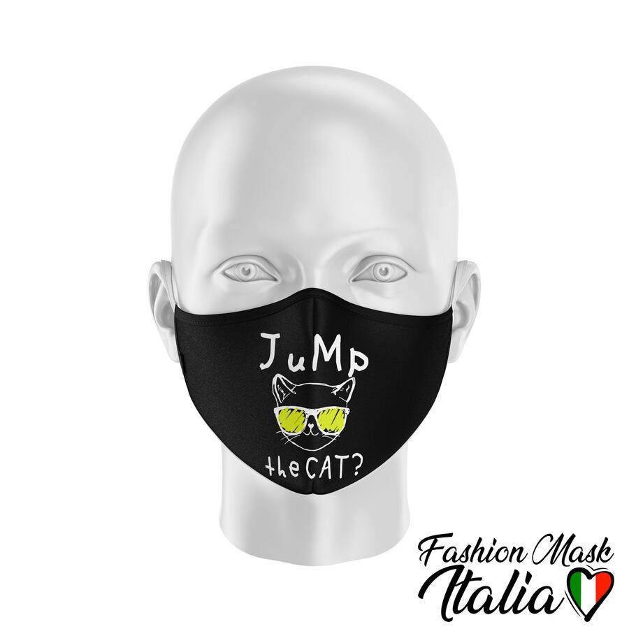 """Fashion Mask """"Jump The Cat?"""" by Fakeoff! 3 Strati 100% Cotone con Filtro intercambiabile in TNT (2 Mascherine+20 Filtri)"""