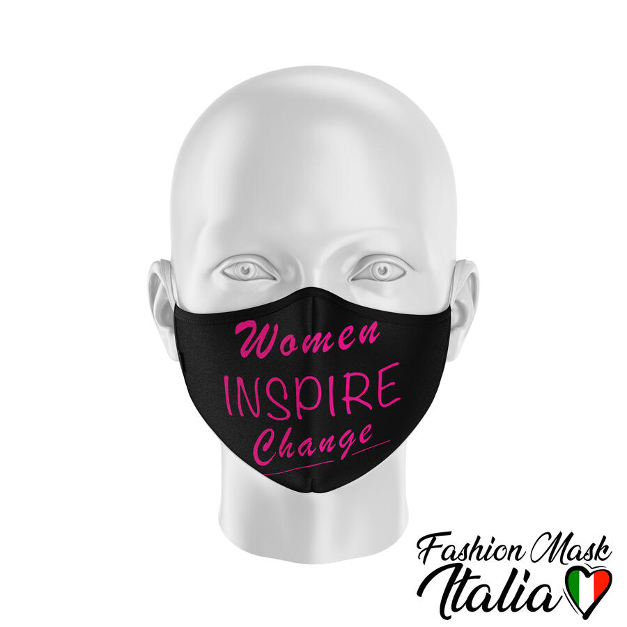 "Fashion Mask ""Women Inspire Change Glitter Style"" by Fakeoff! 3 Strati 100% Cotone con Filtro intercambiabile in TNT (2 Mascherine+20 Filtri)"